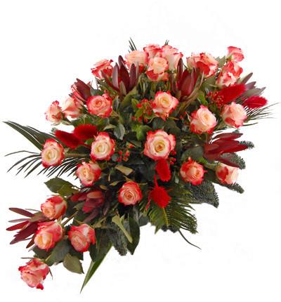 wiązanka pogrzebowa z róż czerwonych